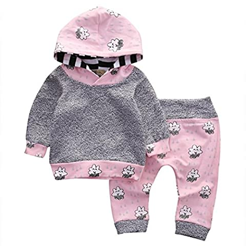 Tops+Pants for 0-2 Years Baby , Janly® Catoon Patchwork Clothes Suits Girls Striped Hooded Shirts Star Print Long Trouser (12M,
