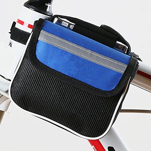 Mmyunx Bicicleta De Ciclismo Frente Marco Impermeable Portátil Tubo Manillar Pannier Bicicleta Bolsa Doble Teléfono Bolsa De Ciclismo,Blue