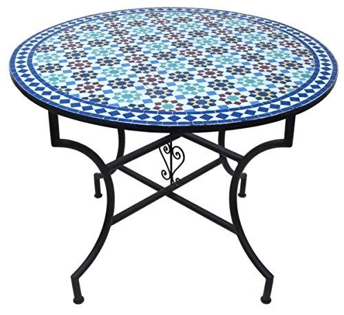 """Orientalischer Mosaiktisch Rund Ø 120 cm """"Tarsia"""" Bunt"""