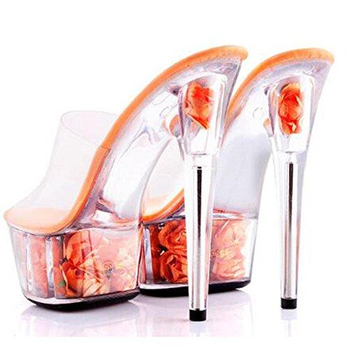W&LMFiori Scarpe di cristallo Tacchi alti Fine con Pantofole femminili Piattaforma impermeabile Spessore inferiore sandali sandali F