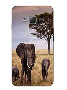 Make My Print Elephant Printed Multicolor Hard Back Cover For Samsung Z1