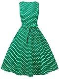 FAIRY COUPLE 50s Retro Blumen Cocktail Schwingen Party Kleid mit Bogen DRT017(4XL,Grüne kleine weiße Punkte)