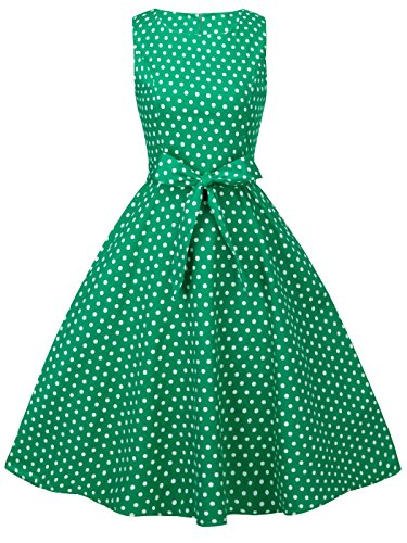 FAIRY COUPLE 50s Retro Blumen Cocktail Schwingen Party Kleid mit Bogen DRT017(3XL,Grüne kleine weiße Punkte)