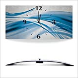 Artland 3D analoge Wand-Funk- oder Quarz-Uhr Digital-Druck auf Alu metallic mit Motiv 2jenn Schöne blaue Welle - Abstrakt Abstrakte Motive Gegenstandslos Digitale Kunst Blau A5ZR