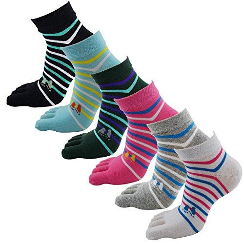 Damen Five Fingers Bunte gestreifte Separate-Socken 6 Paare (Socken Star-2pk)