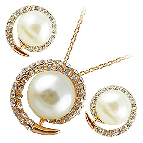 GWG® Jewellery Set for Women 18K Gold Plated Earrings and Pendant Necklace Pearl Graced with Spiral Band Covered with Transparent Stones