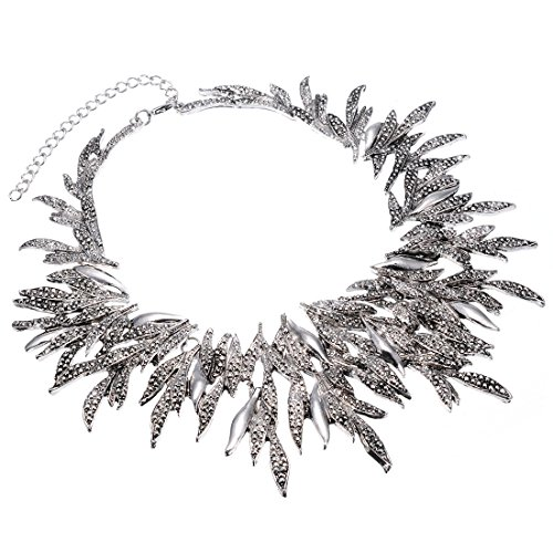 gold-silver-metal-leaf-chain-chunky-bib-statement-collar-necklace-xmas-gift
