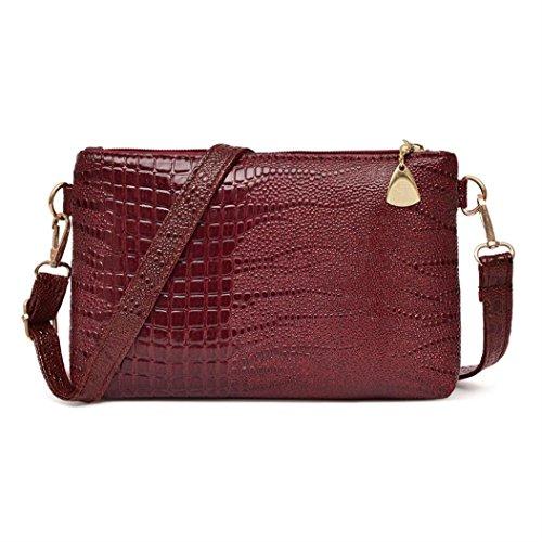 Byste nuovo donna borse del messaggero semplice modello di coccodrillo pelle piccolo borsetta casuale borse a tracolla crossbody borse spalla messenger borse (vino)