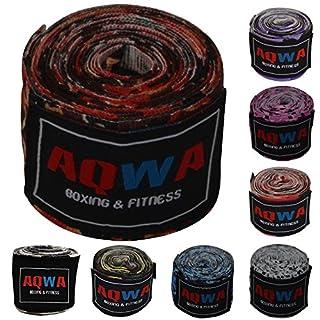 AQWA Boxing Hand Wraps 100% Cotton 4.5m Long Multi Colors (Camo Orange)