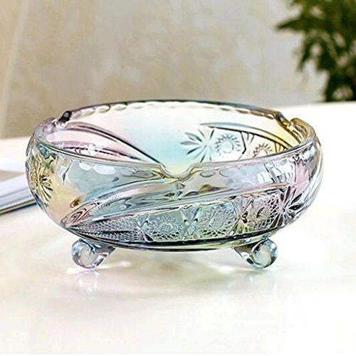 weiwei WEI Bleifreies Glas mit DREI Füßen Sonne Blume Runde Persönlichkeit Gravierte Aschenbecher (Farbe : Bunte) (Sonne Aschenbecher)
