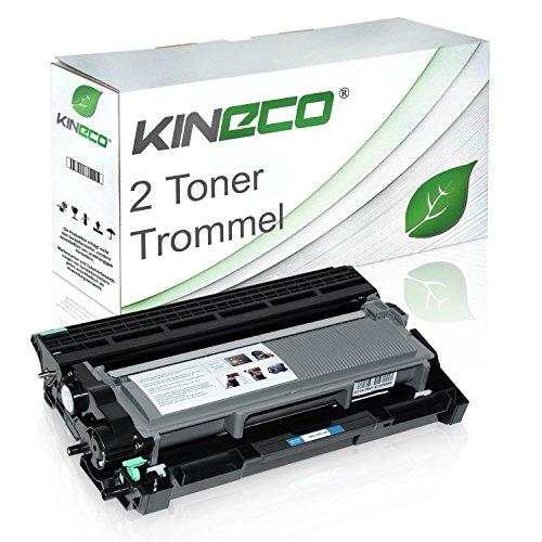 Kineco 2 Toner mit Trommel kompatibel für Brother TN-2320 TN-2310 DR-2300 für Brother HL-L2340DW, L2300D, L2360DN, MFC-L2700DW - Schwarz XXL Füllmenge je 5.200 Seiten, Trommel 12.000 Seiten