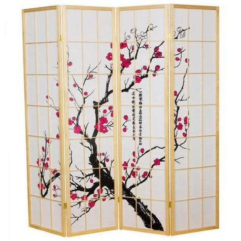 Fine Asianliving Japanese Room Divider Sakura Shoji Ricepaper 4 Panel - Natural -