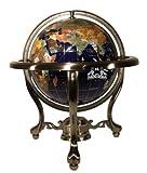 Unique Einzigartige Kunst 33cm hoch Tisch Top Lapislazuli blau Ocean Edelstein World Globe mit Silber Stativ Ständer