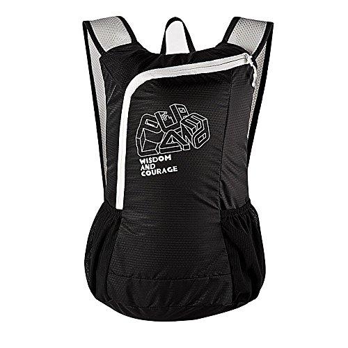 Ranbow luce sottile zaino pieghevole in bicicletta Daypack Packable Shoulder Bag 16L, nero