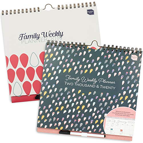 Boxclever Press Family Weekly Planner calendar 2019 and calendar 2020 set. Week-to-view academic mid-year family organisers, 6 columns for busy families. Use now to December '20. Great gift for mum! 2 Pocket Chart