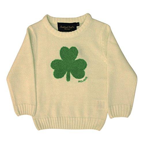 Irland-Pullover für Kinder, mit Rundhalsausschnitt und flauschigem Kleeblatt, cremefarben (Sweatshirt Irland-flag)