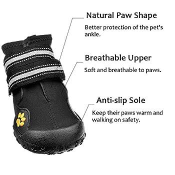 Bottes pour chien de protection, Royalcare Lot de 4étanche Chaussures de chien pour chiens de taille moyenne et grande?Noir