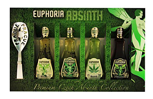 Euphoria Premium Absinthe Collection Set | Original - 80 - Black - Cannabis (4 x 50 ml), 35mg/kg thujone, Zucker, Löffel