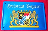 Tin Sign Blechschild 20x30 cm Bayernwappen Staatswappen Freistaat Bayern Grenze Bar Metall Schild
