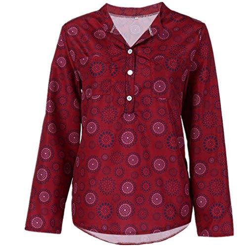 Große Größe T-Shirt Oberteile für Damen/Dorical Frauen Kurzarm/Lange Ärmel V-Ausschnitt Knopfleiste Lose Drucken Sweatshirt Tunika Sommer Elegant Casual Tops S-5XL Reduziert(Weinrot-2,X-Large)