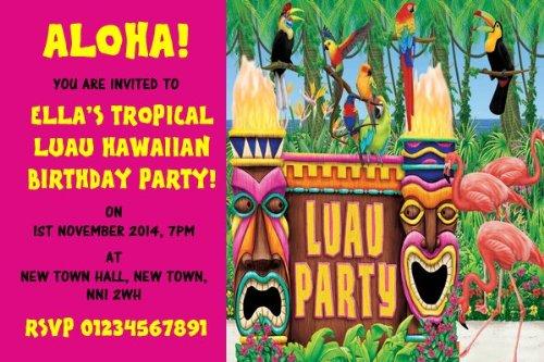 (10x personalisierbar Pink Hawaiian Tropical Hawaii-Party Einladungen)
