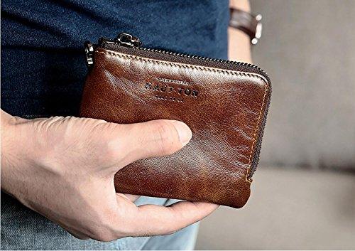 ZXDOP Geldbörsen Herren Kurze Absatz Geldbörse Leder Kleine Tasche Baotou Schicht aus Leder Multifunktions-Wallet Zipper ( farbe : 2# ) 2#