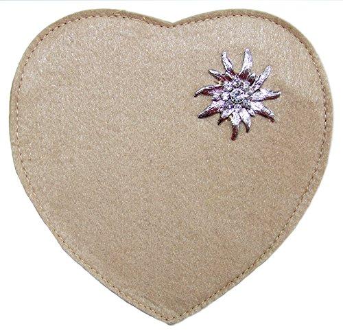 Herz Trachtentasche mit Edelweiß Hellbraun