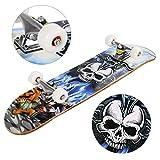 Teamyy Freestyle Planche à roulettes Plateau Skateboard Générale Impression en Bois + Roue PU Pour Adulte,enfant,Jeune