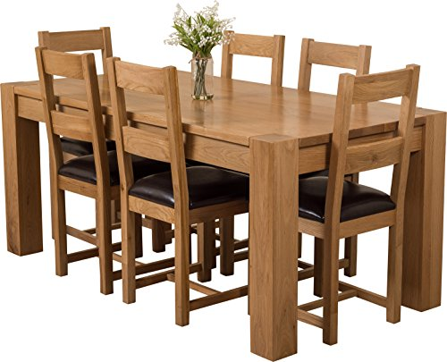 hermosa kensington dining table with 6 chairs with clear lacquer finish solid oakleather brown 180 x 90 x 77 cm