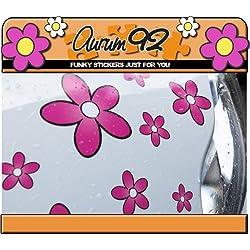Aurum92 Pegatinas para Coche, diseño de Margaritas, Color Rosa, 30 Unidades