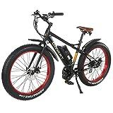 Onway 26 Zoll 7-Gang All Terrain Fett Reifen E-Bike, 750W Mächtig Motor, 48V 11.6Ah Lithium-Akku, 9 Unterstützungsstufen, LCD Modus Anzeige