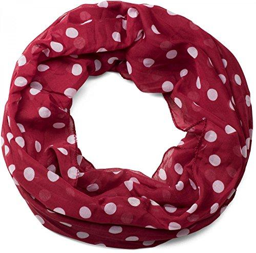 styleBREAKER Punkte Muster Loop Schlauchschal, seidig leicht, Tuch, Damen 01016111, Farbe:Dunkelrot-Weiß