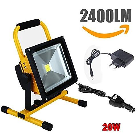 Nestling® CH-20WJC 20W Rechargeable Portable LED Lampe de travail, 150W Ampoule halogène équivalente, 2400lm, Adaptateur et chargeur de voiture inclus, étanche, Floodlight extérieure (20W)