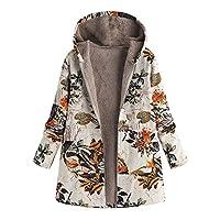 KaloryWee Sale Womens Winter Warm Outwear Floral Print Hooded Pockets Vintage Coats Orange