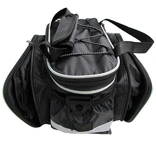 Tancendes Bike Rear Bag dicker Rackriemen Verlängerter Schulterriemen wasserdichter Nylon Fahrrad Sitzkoffer mit Regenmantel Schwarz