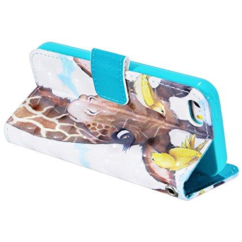 SMART LEGEND Lederhülle für iPhone SE/5S/5 Hülle Premium PU Leder Flip Case Cover mit Kratzfeste Stoßdämpfende Bookcase Pattern Muster Handy Tasche Schale mit Kartenfächer Standfunktion Schutzhülle Le Giraffe