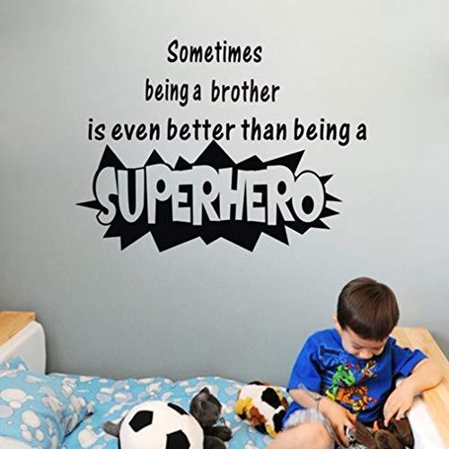 Wandtattoo Kinderzimmer Zitat manchmal ein Bruder besserer Superheld Diy Raum-Kunst-Dekor für Schlafzimmerwohnzimmer sein - Kleine Bruder Wandtattoos Zitate,