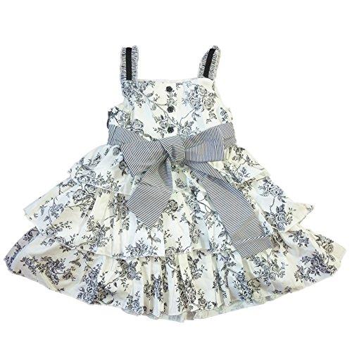 Maggie & Zoe Baby Mädchen Sommer Petticoat Kleid mit Unterhose Baumwolle Schwarz Weiß Rosen 92