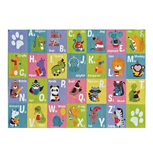 Teppich,Kinderteppiche Kinderzimmer Dschungel Tiere Giraffe Pastellfarben 80x150cm ()