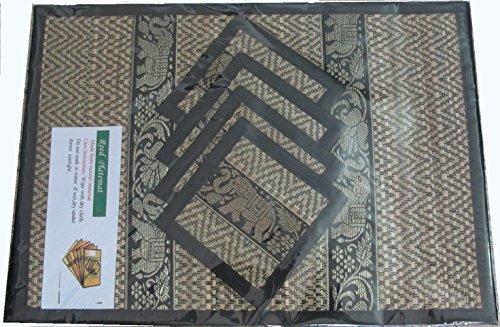 Thai Hand Made Reed, Tischset und Untersetzer-Set für 4Personen in schwarz (Scrub Set Childs,)