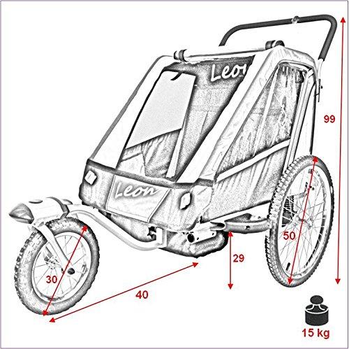 PAPILIOSHOP LEON Rimorchio passeggino carrellino per il trasporto di 1 o 2 uno due bambino bambini con la bici ruota anteriore piroettante bicicletta portabimbo bimbo bimbi portabimbi carrello pieghevole carrozzina da con x porta (New Mimetico) - 7