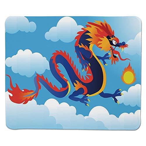 Yanteng Gaming Mouse Pad Drache, surreale Volksgeschichte Kreatur, die Feuer auf Wolken spuckt Chinesische Cartoonkunst dekorativ, Indigo Sky Blue Orange genähter Rand