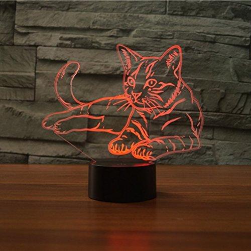 3D Katze Lampe USB Power 7 Farben Amazing Optical Illusion 3D wachsen LED Lampe Formen Kinder Schlafzimmer Nacht Licht