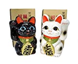 Made in Japan Lucky Cat 13 cm Tokoname Porzellan schwarz & Weiß Paar Maneki Neko