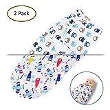 OZUAR Baby Pucksack Wickel-Decke Pucktücher - 2er Pack Universal Verstellbare Schlafsack Decke aus 100% Weicher Baumwolle für Säuglinge Babys Neugeborene 0-3 Monate Unsex 62x28cm (Flugzeug und Auto)