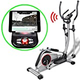 Festnight Heimtrainer Programmierbarer Ellipsentrainer Crosstrainer Schwungmasse 18kg Smart App LCD-Display