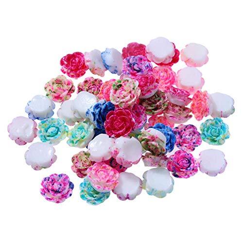 Demiawaking Cristal Perles en Strass Autocollants Accessoires de Bijoux Blanche Bricolage Colliers 50pcs / lot 13mm Résine Rose Fleur Fond Plat Bricolage Décor (Multicolore)