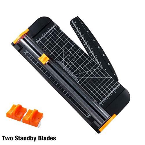 TIANSE A4 Papierschneider Titanium Papier Trimmer Scrapbooking-Werkzeug mit automatischer Sicherheit zu schützen und Seitenlineal für das Handpapier, 2 Stück Blades (schwarz) MEHRWEG -