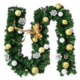 Hankyky 2,7   Mt Künstliche Hängende Rattan Weihnachtskranz Girlande Mit Bogen Schneeflocke Weihnachtskugel Ornamente Für Home Party Gartenzaun Hochzeitsdekoration