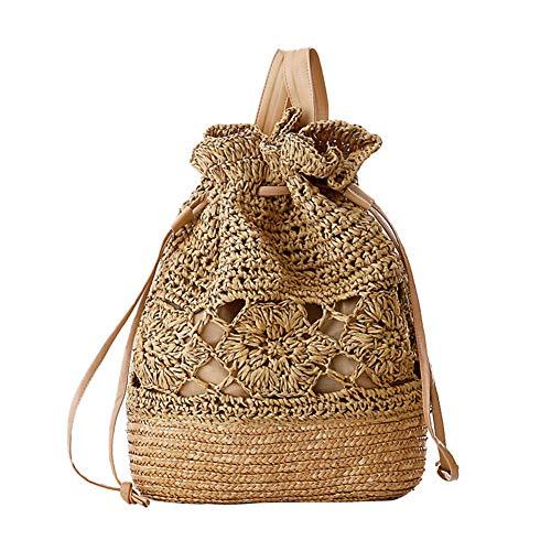 Hosaire 1x Campus Vintage handgemachte gehäkelte Umhängetasche Damen Stroh Tasche gesponnener Beutel weibliche Tasche Braun - Gehäkelte Beutel